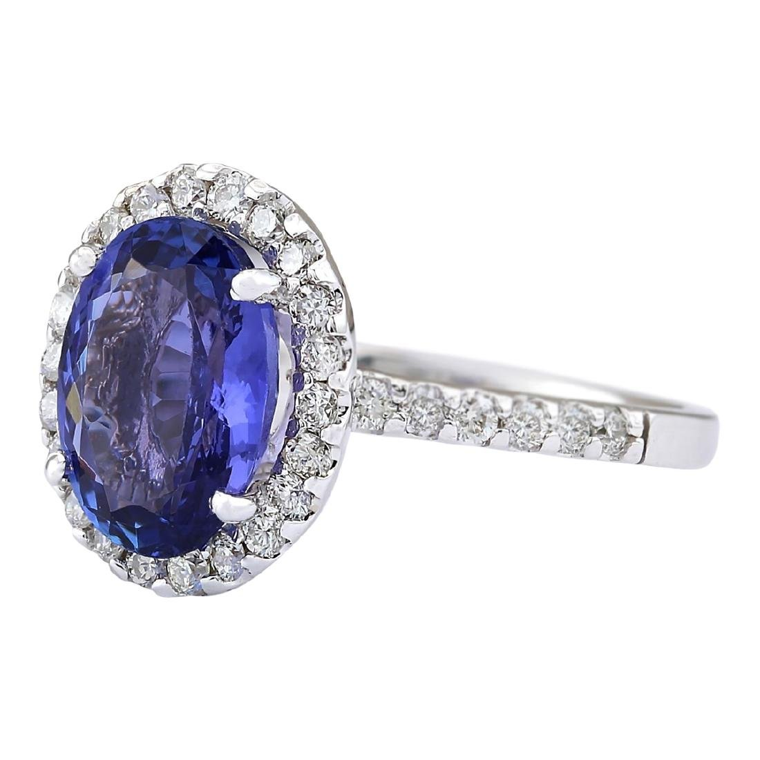 3.63 CTW Natural Blue Tanzanite And Diamond Ring 18K - 2