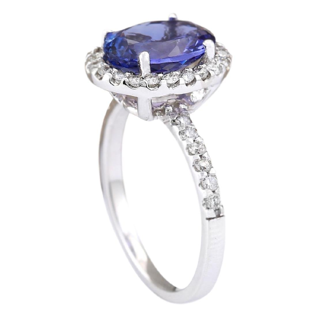 3.63 CTW Natural Blue Tanzanite And Diamond Ring 18K - 3