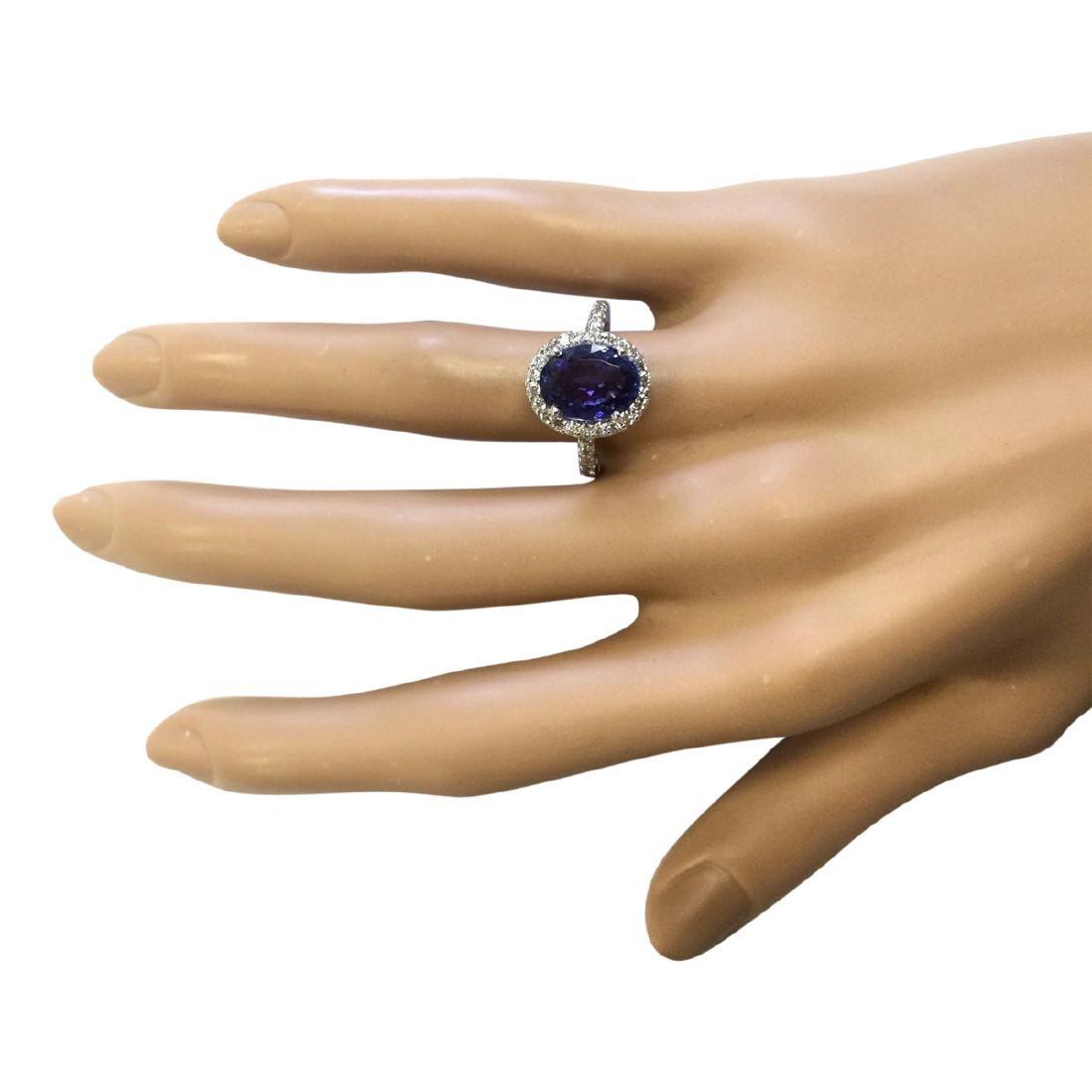 3.63 CTW Natural Blue Tanzanite And Diamond Ring 18K - 4