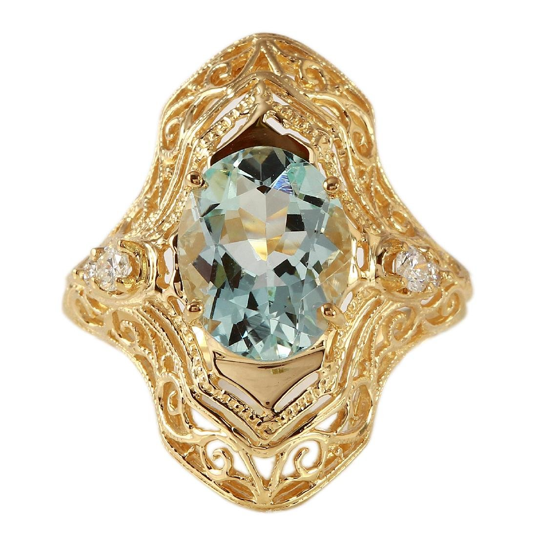 2.08 Carat Natural Aquamarine 18K Solid Yellow Gold