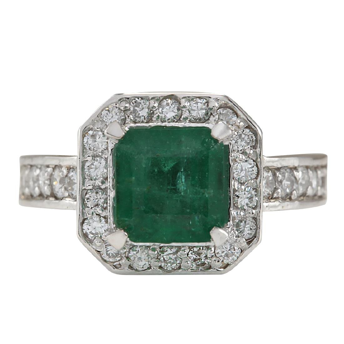 3.32CTW Natural Emerald And Diamond Ring In 18K White