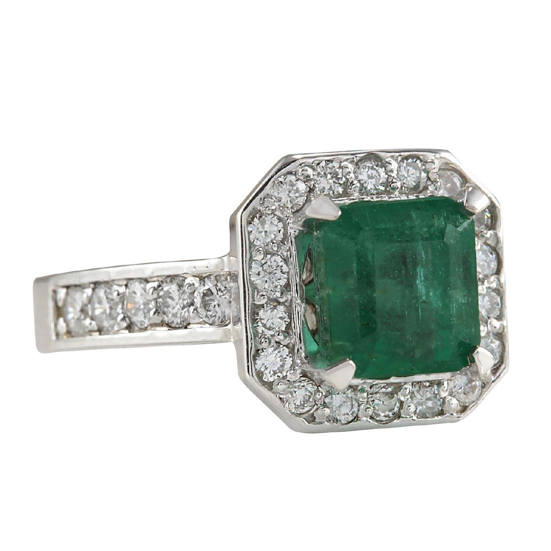 3.32CTW Natural Emerald And Diamond Ring In 18K White - 2