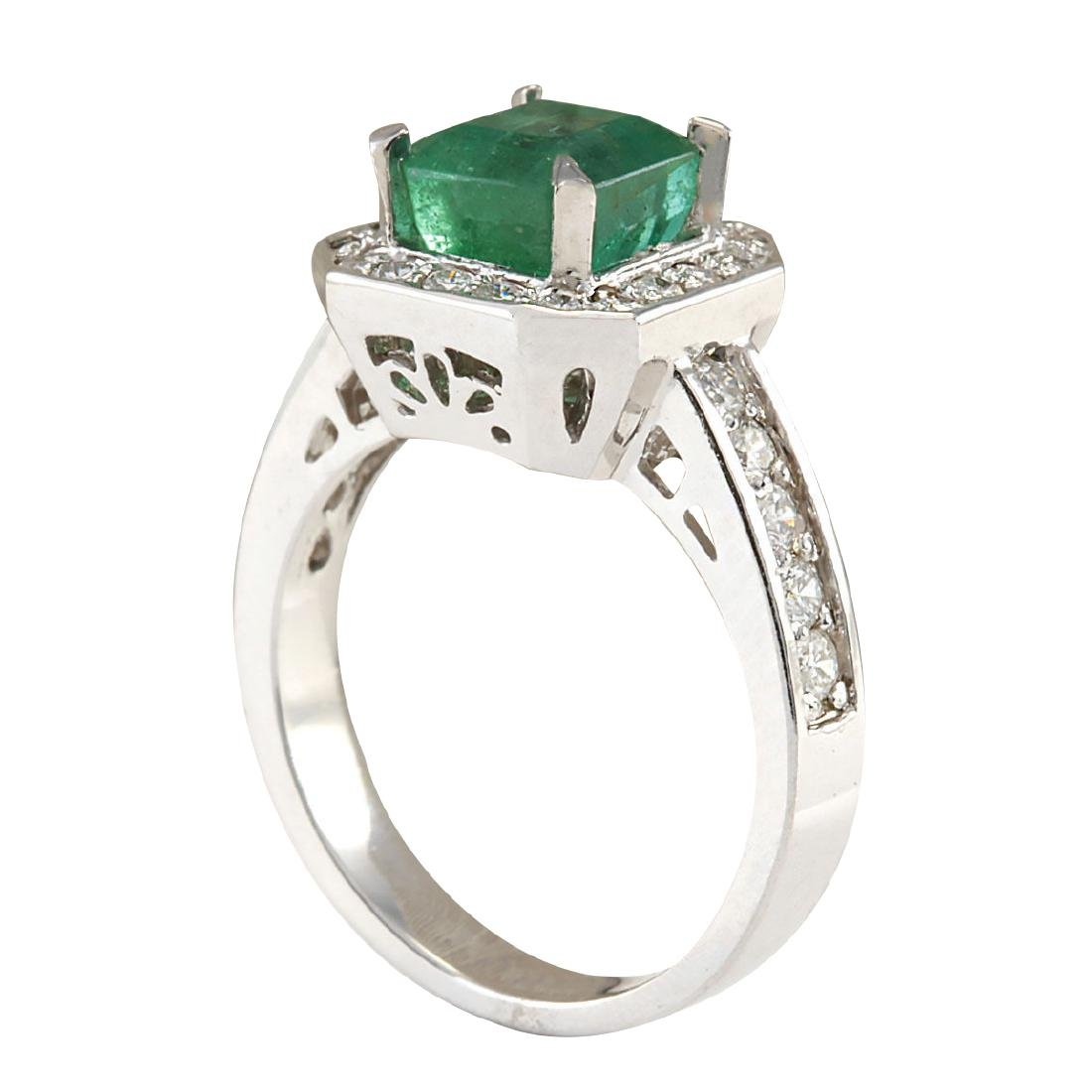 3.32CTW Natural Emerald And Diamond Ring In 18K White - 3