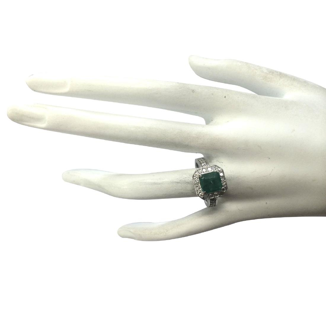 3.32CTW Natural Emerald And Diamond Ring In 18K White - 4