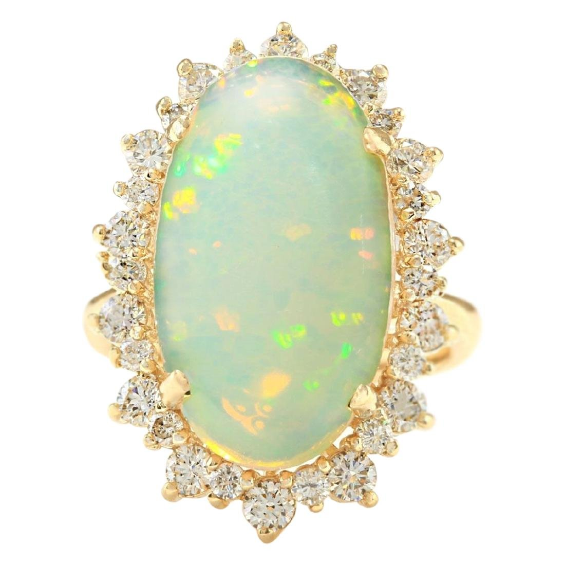 8.29 CTW Natural Opal And Diamond Ring In 18K Yellow