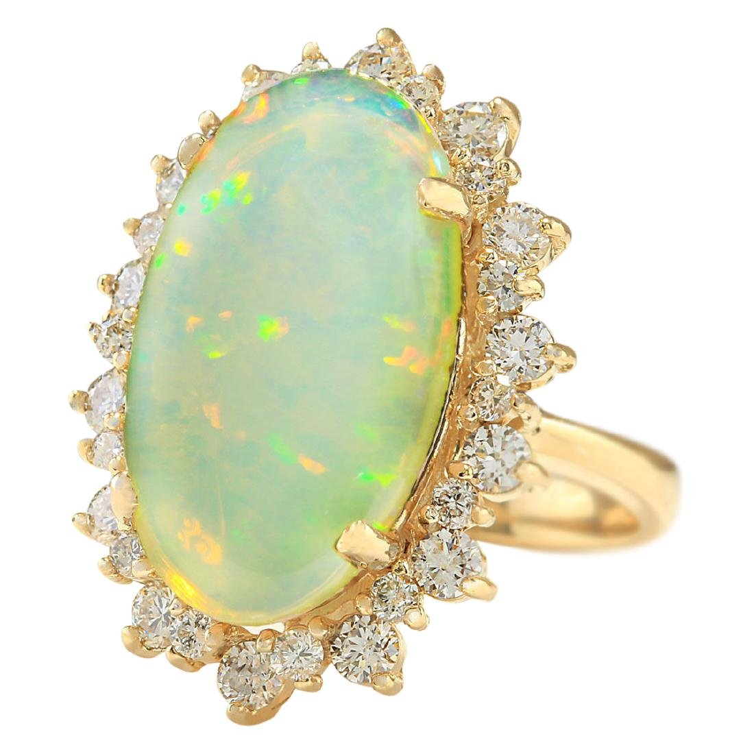8.29 CTW Natural Opal And Diamond Ring In 18K Yellow - 2