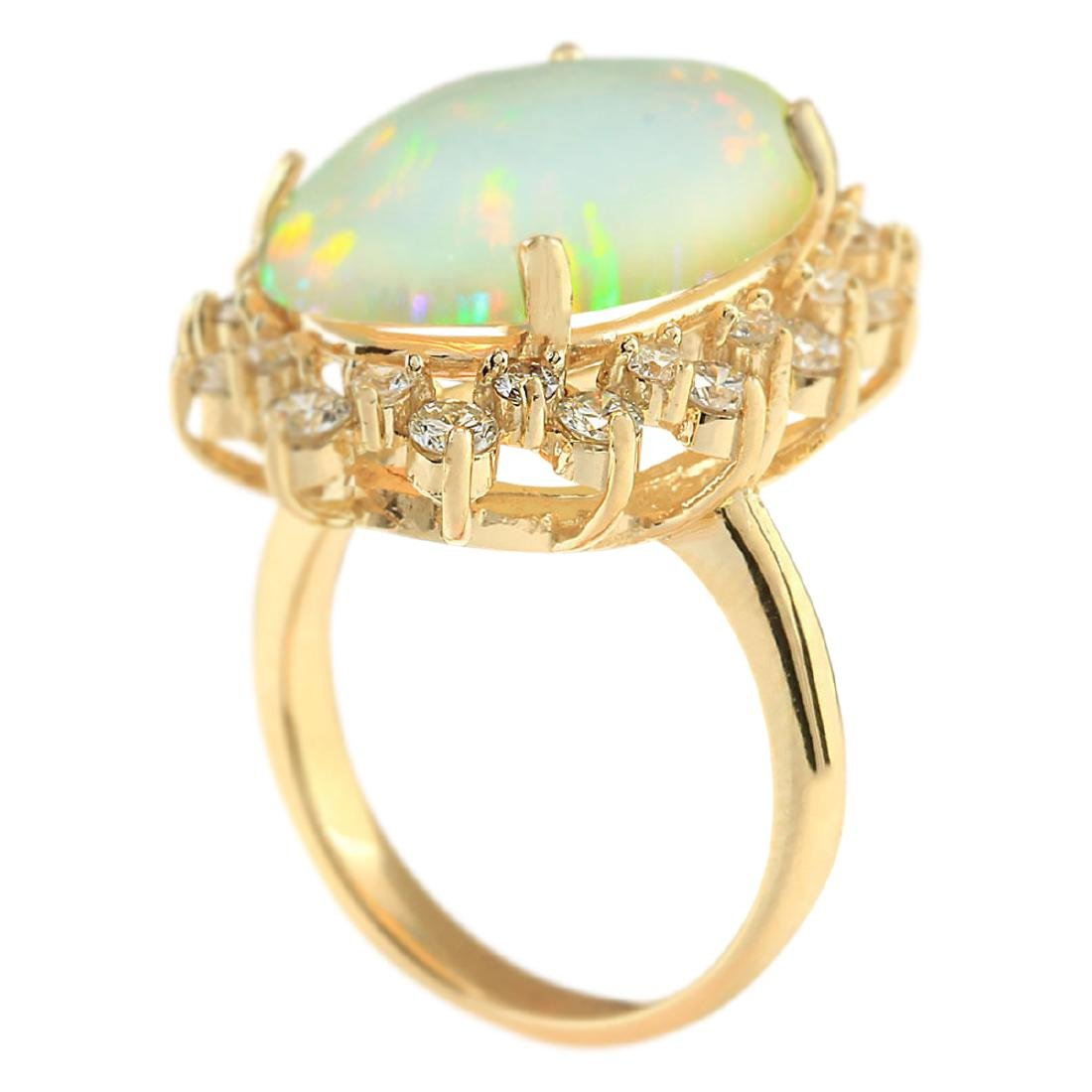 8.29 CTW Natural Opal And Diamond Ring In 18K Yellow - 3