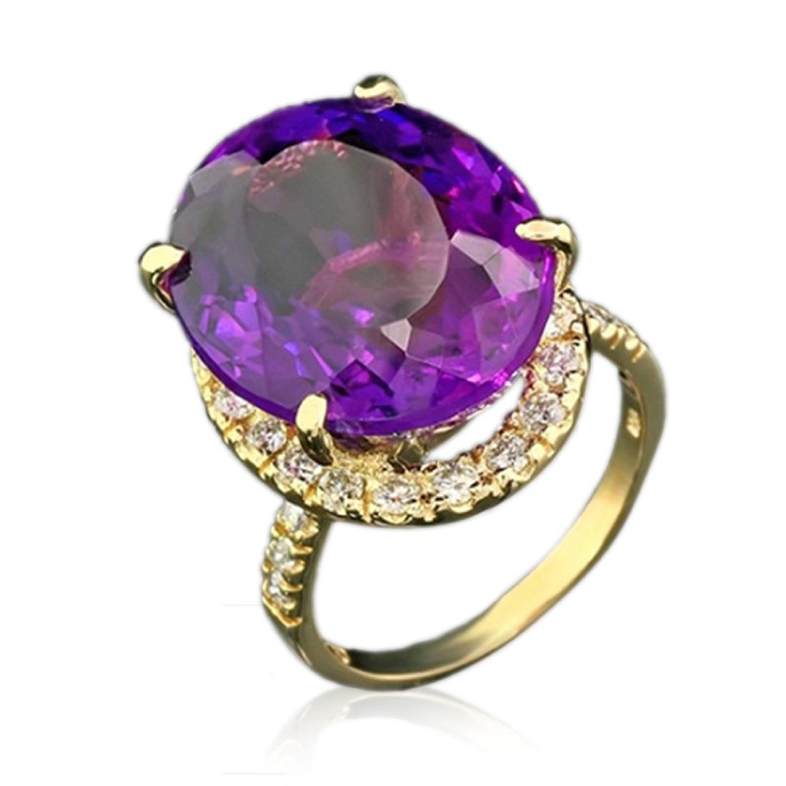 17.86 Carat Natural Amethyst 18K Solid Yellow Gold