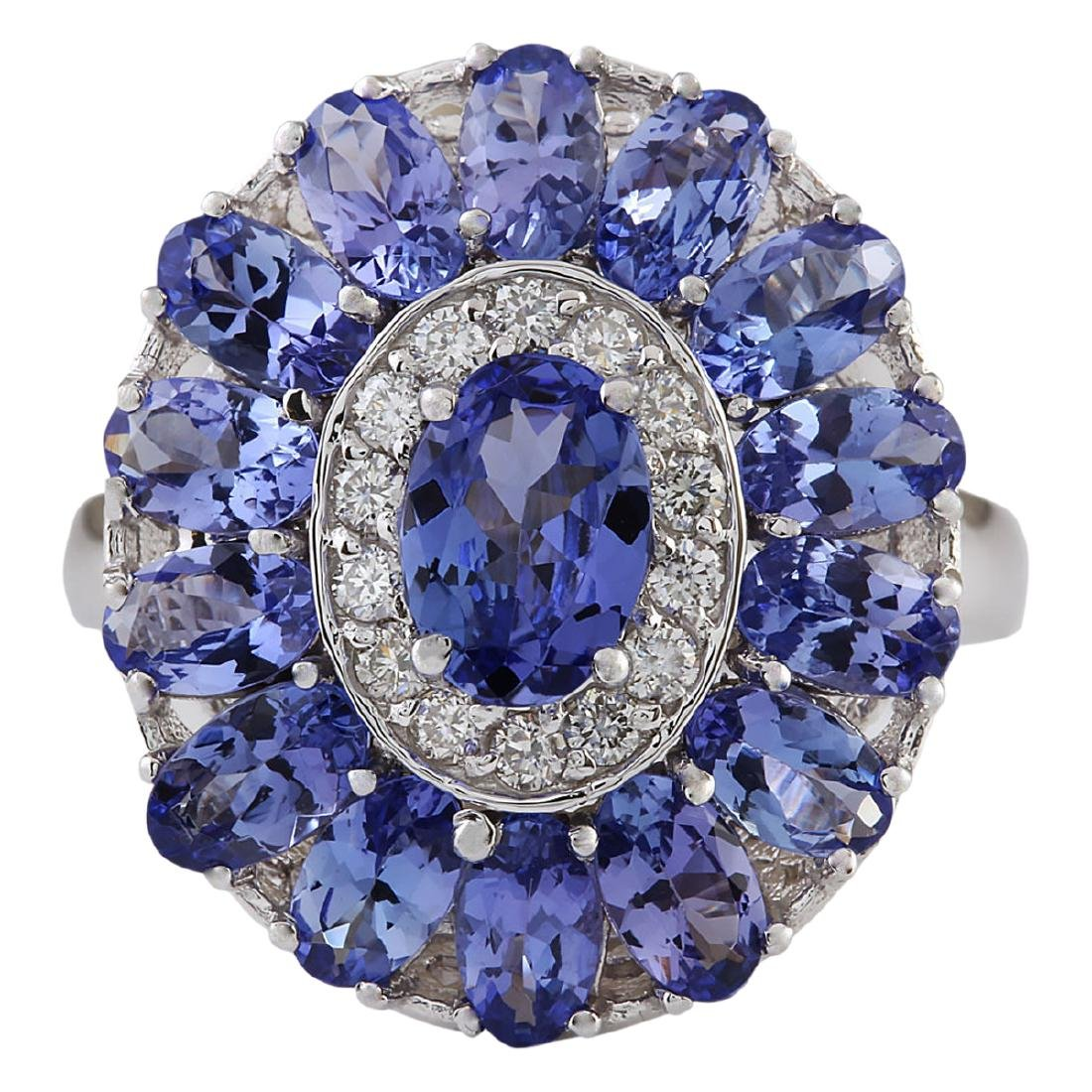 4.77 CTW Natural Tanzanite And Diamond Ring In 18K
