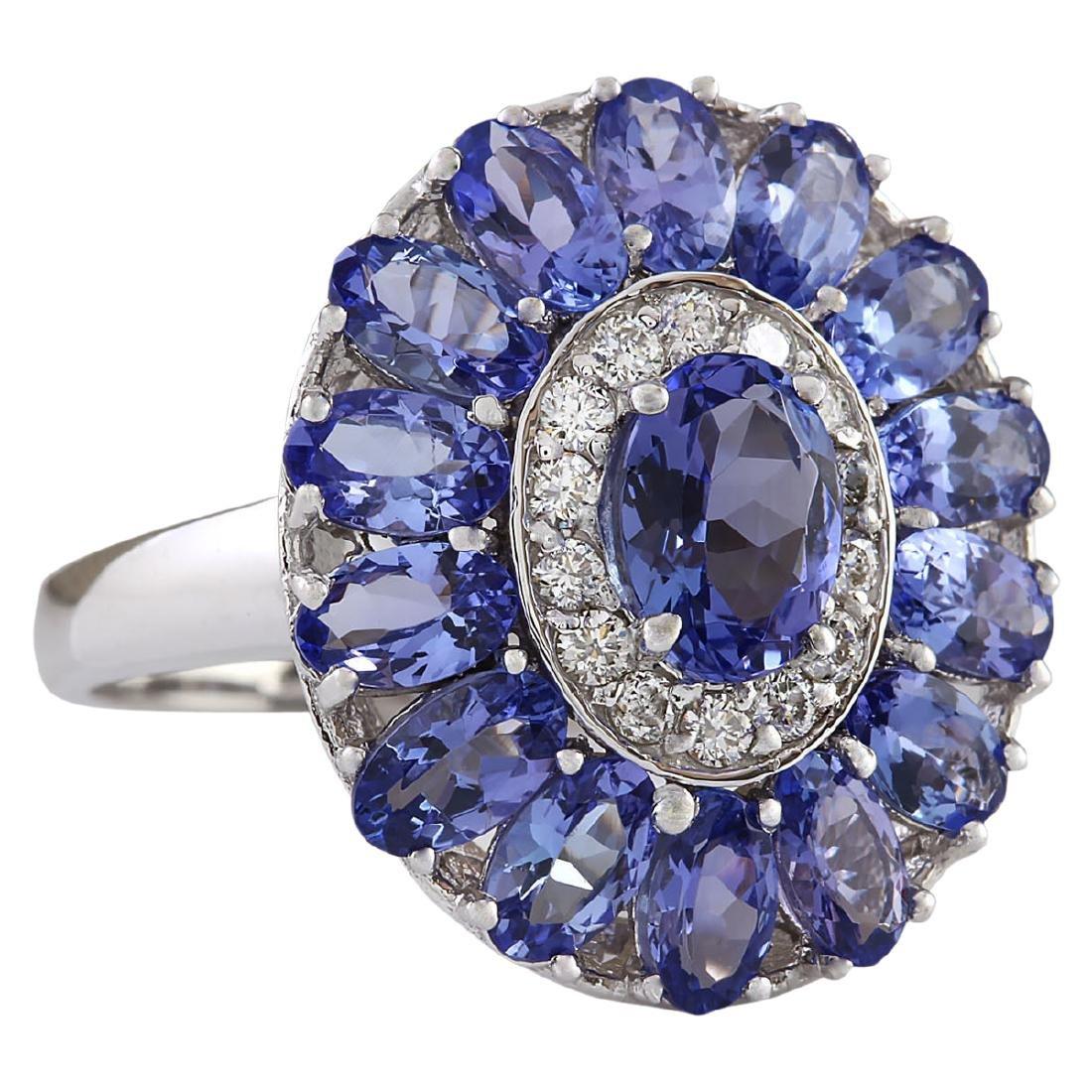 4.77 CTW Natural Tanzanite And Diamond Ring In 18K - 2