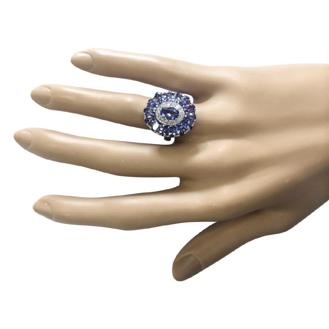 4.77 CTW Natural Tanzanite And Diamond Ring In 18K - 4