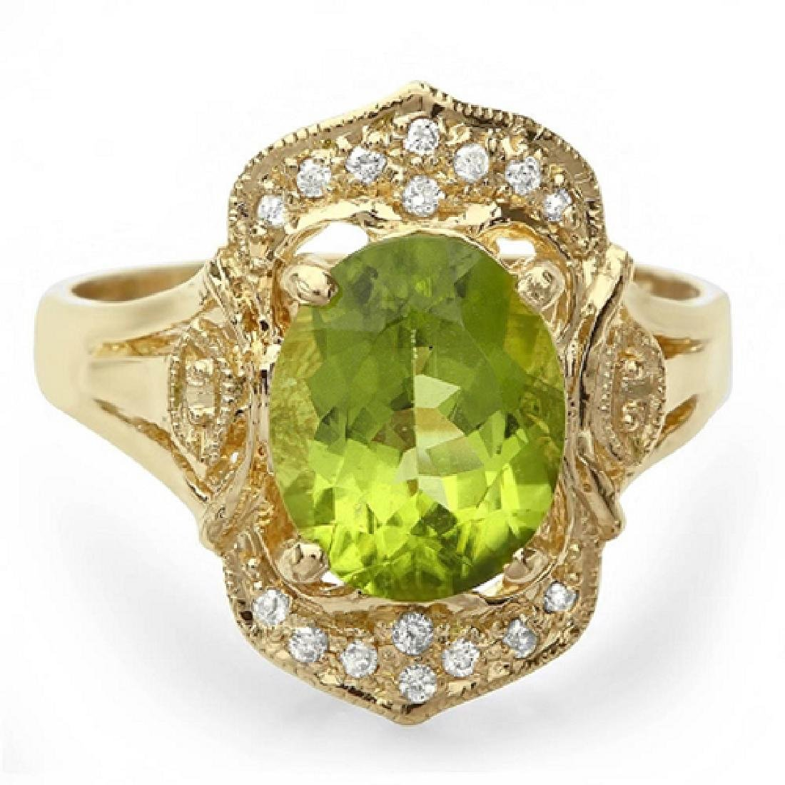 2.30 Carat Natural Peridot 18K Solid Yellow Gold