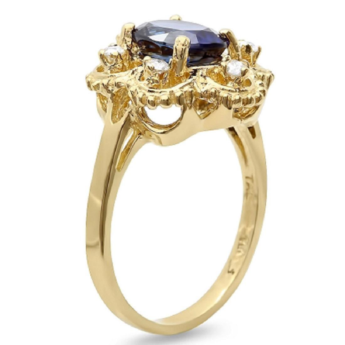 2.75 Carat Natural Sapphire 18K Solid Yellow Gold - 2