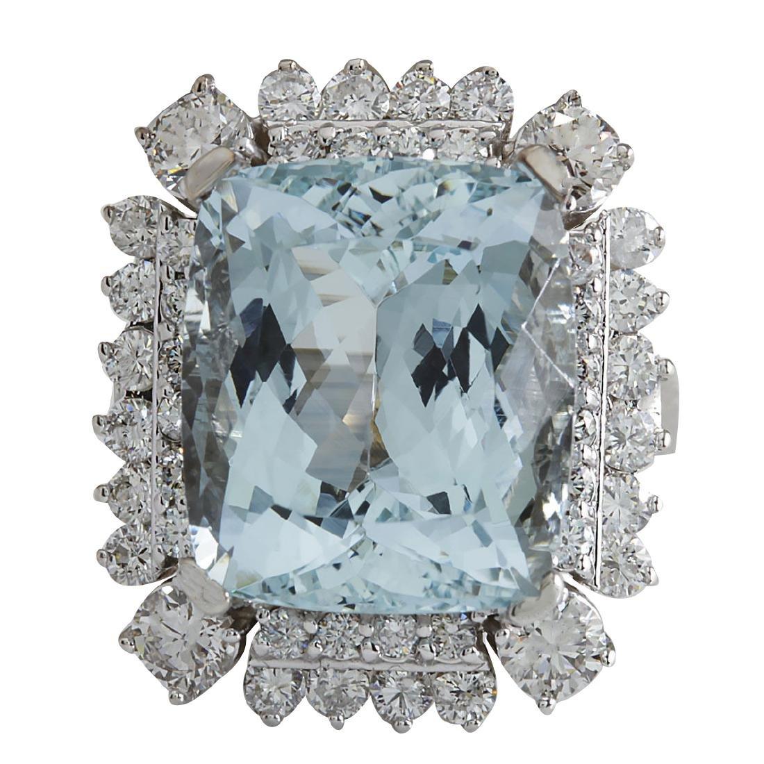 16.54CTW Natural Aquamarine And Diamond Ring In 18K