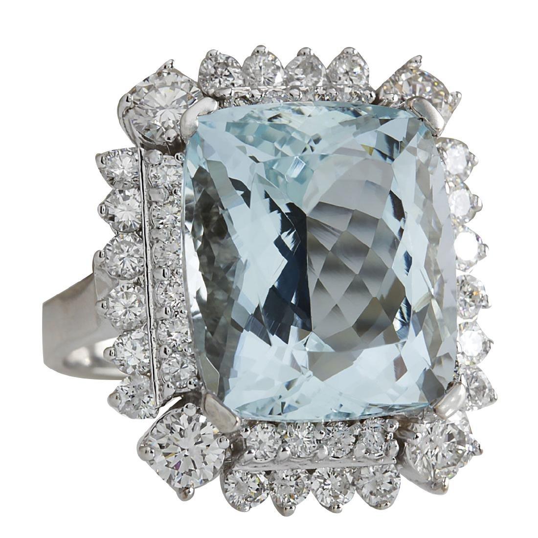 16.54CTW Natural Aquamarine And Diamond Ring In 18K - 2