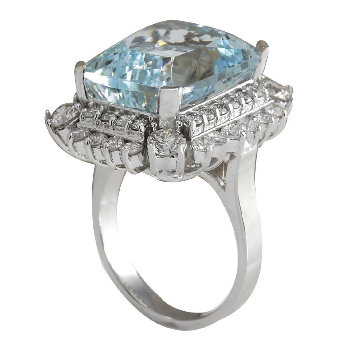 16.54CTW Natural Aquamarine And Diamond Ring In 18K - 3