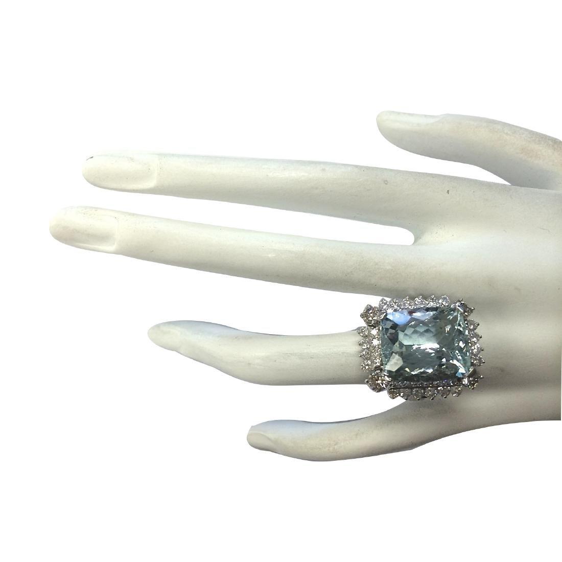 16.54CTW Natural Aquamarine And Diamond Ring In 18K - 4