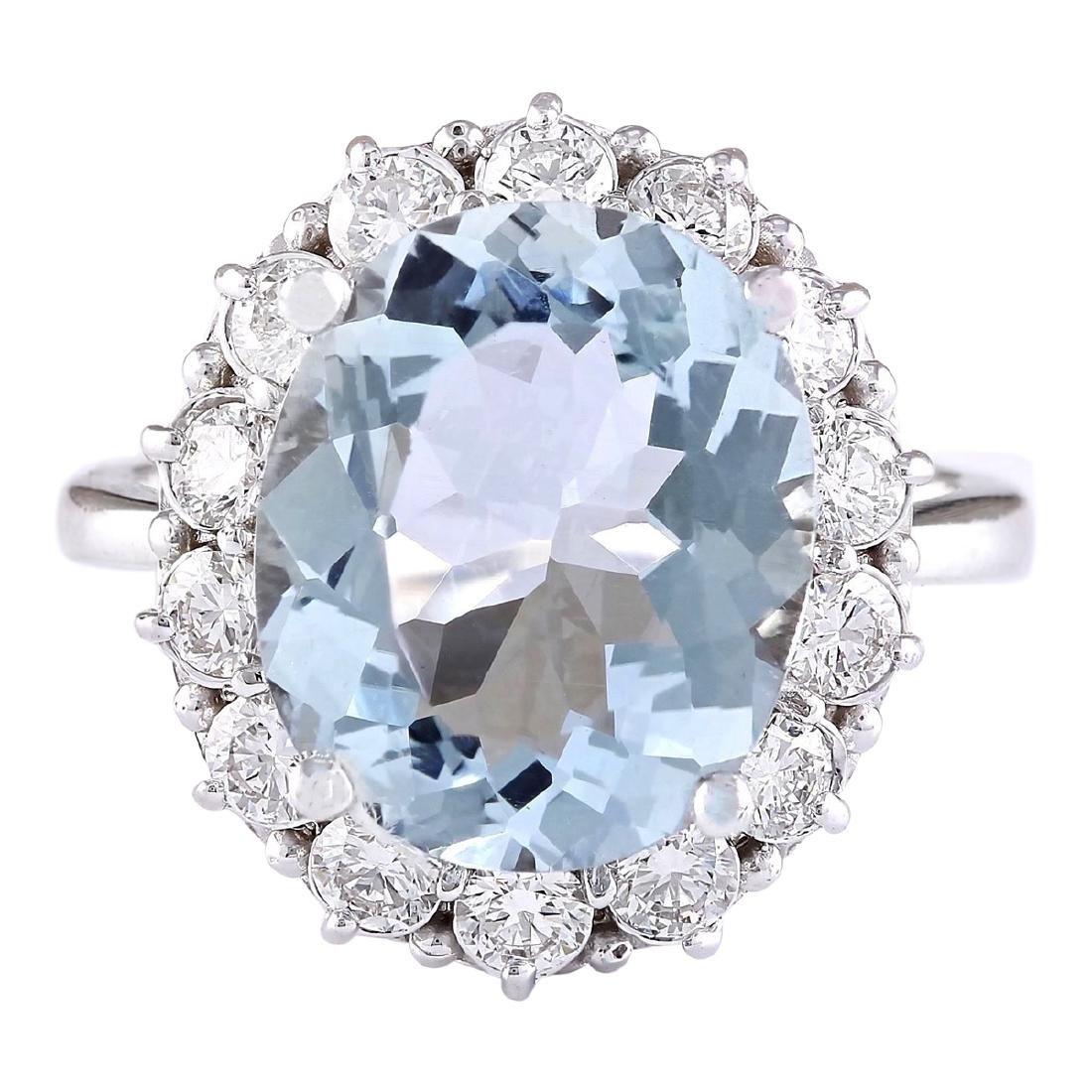 7.01 CTW Natural Aquamarine And Diamond Ring In 18K