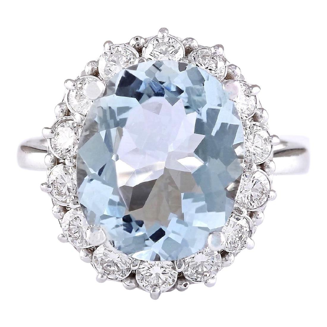 7.01 CTW Natural Aquamarine And Diamond Ring In 18K