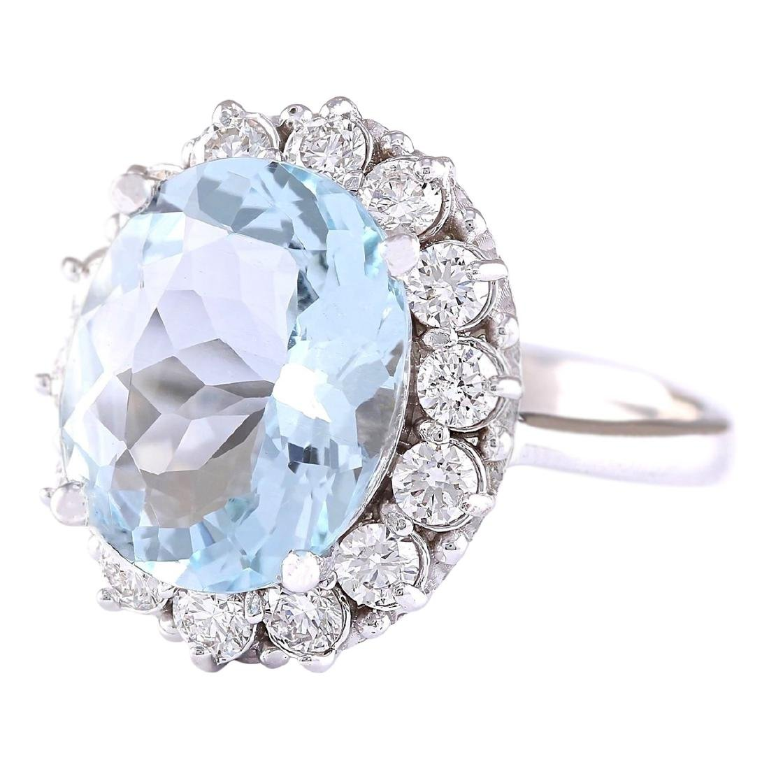 7.01 CTW Natural Aquamarine And Diamond Ring In 18K - 2