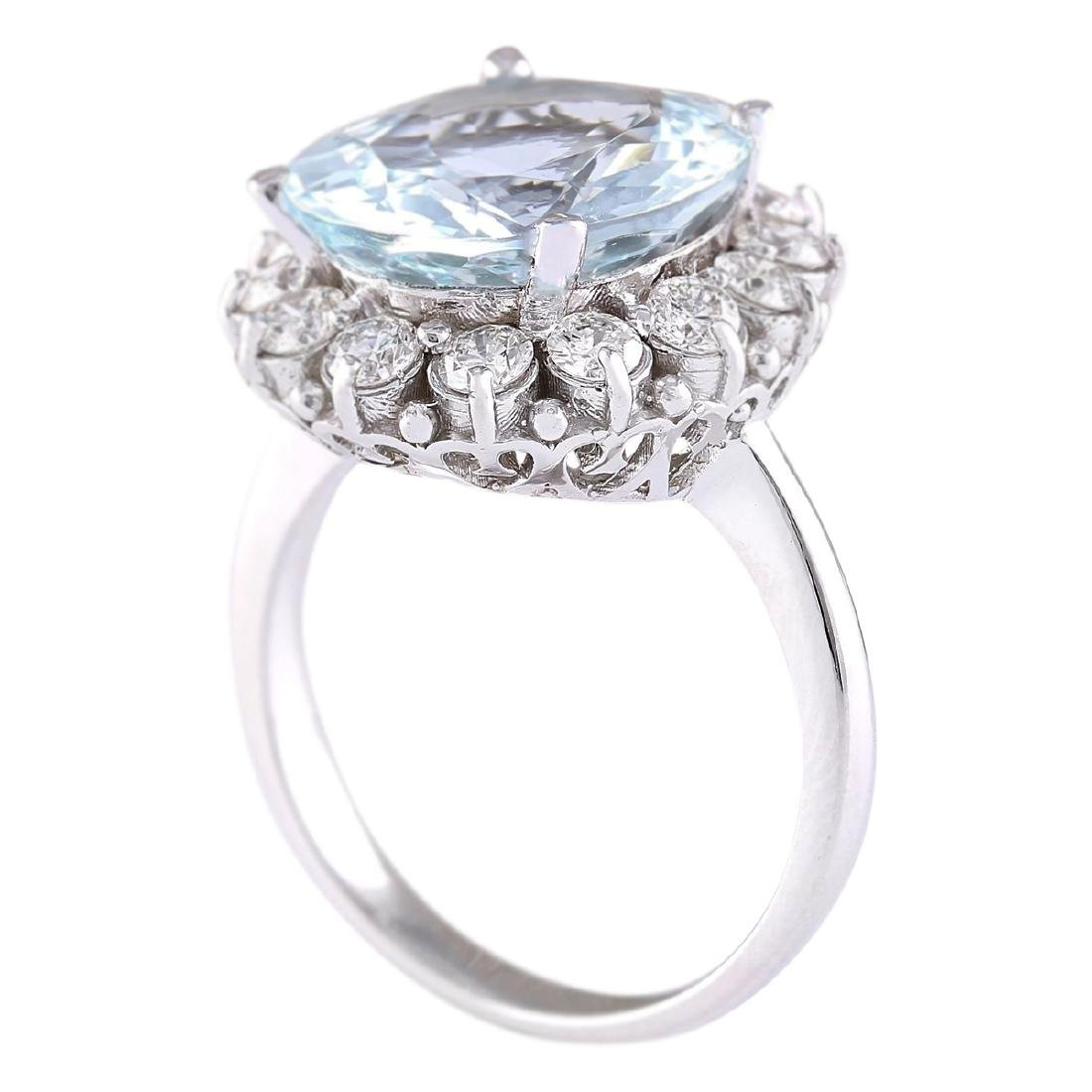 7.01 CTW Natural Aquamarine And Diamond Ring In 18K - 3