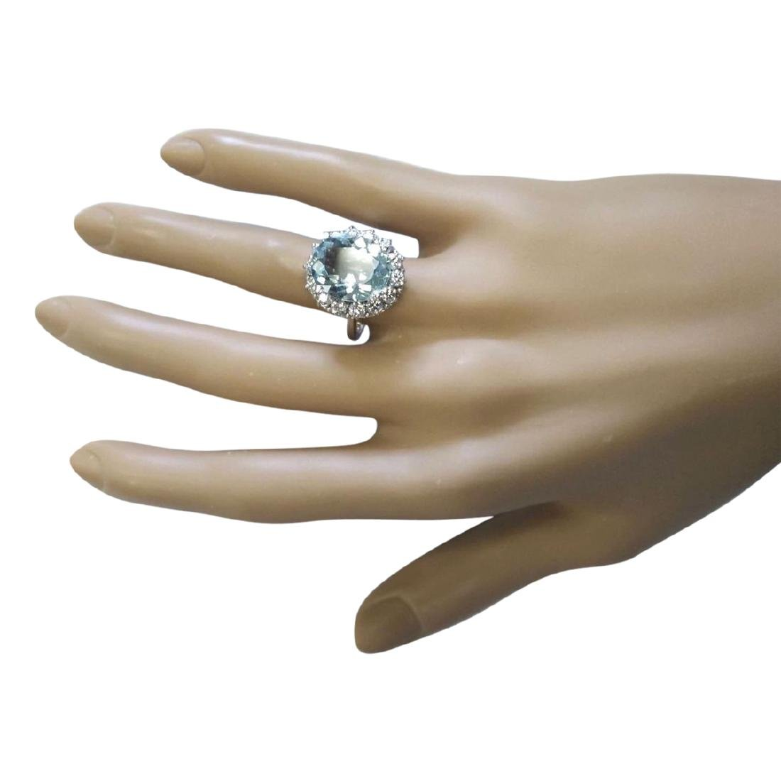 7.01 CTW Natural Aquamarine And Diamond Ring In 18K - 4