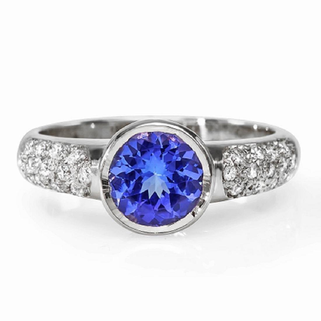 1.53 Carat Natural Tanzanite 18K Solid White Gold