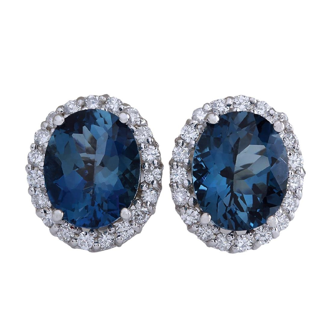 8.55CTW Natural Topaz And Diamond Earrings 18K Solid