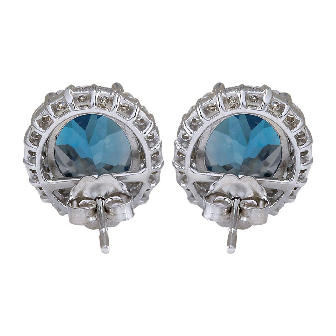 8.55CTW Natural Topaz And Diamond Earrings 18K Solid - 2