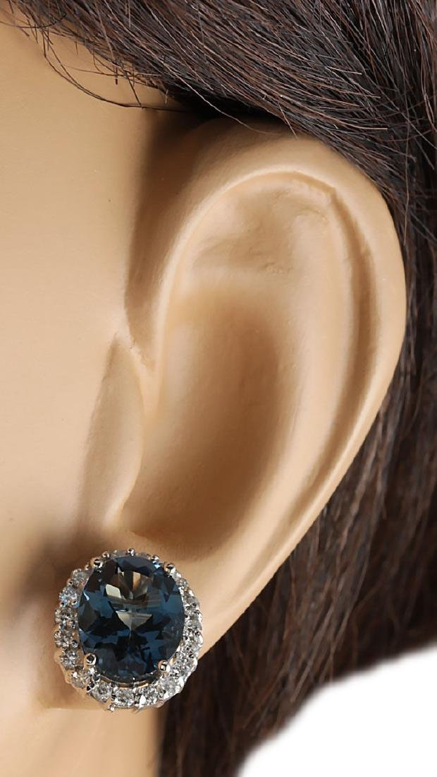 8.55CTW Natural Topaz And Diamond Earrings 18K Solid - 3