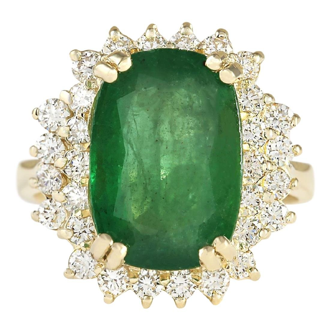 6.69 CTW Natural Emerald And Diamond Ring In 18K Yellow