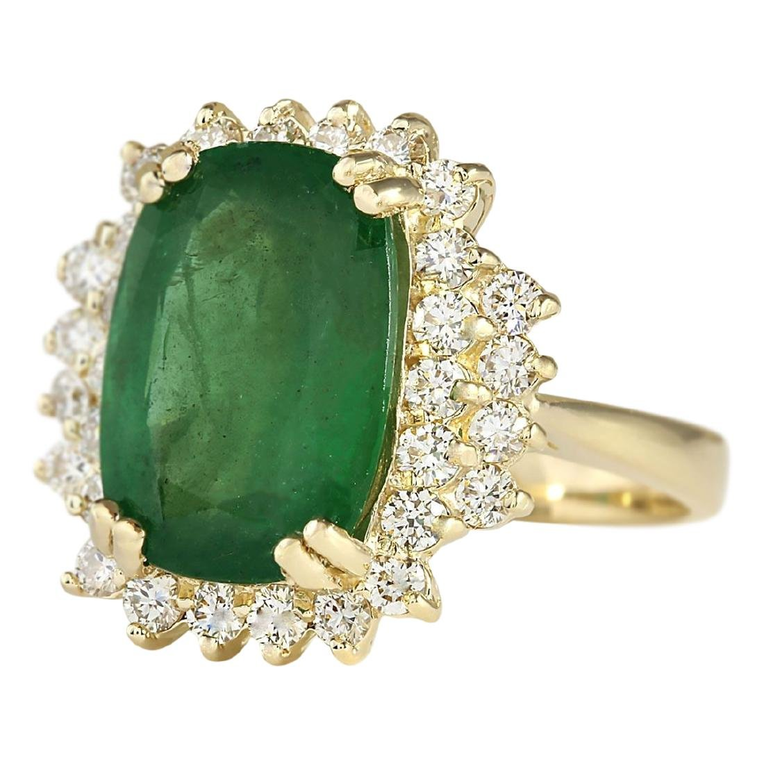 6.69 CTW Natural Emerald And Diamond Ring In 18K Yellow - 2