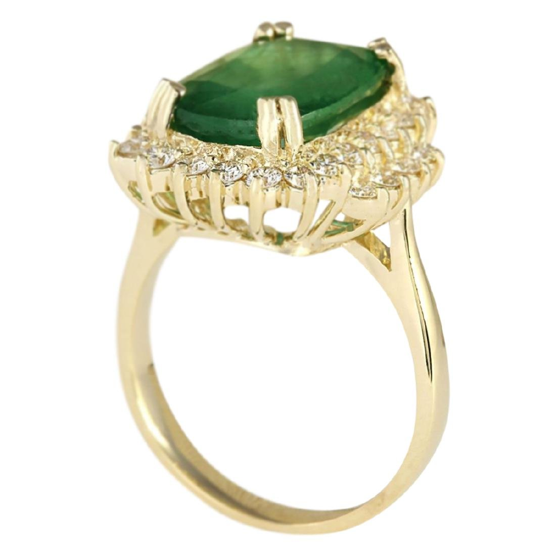 6.69 CTW Natural Emerald And Diamond Ring In 18K Yellow - 3
