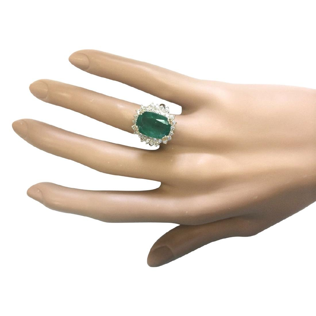 6.69 CTW Natural Emerald And Diamond Ring In 18K Yellow - 4