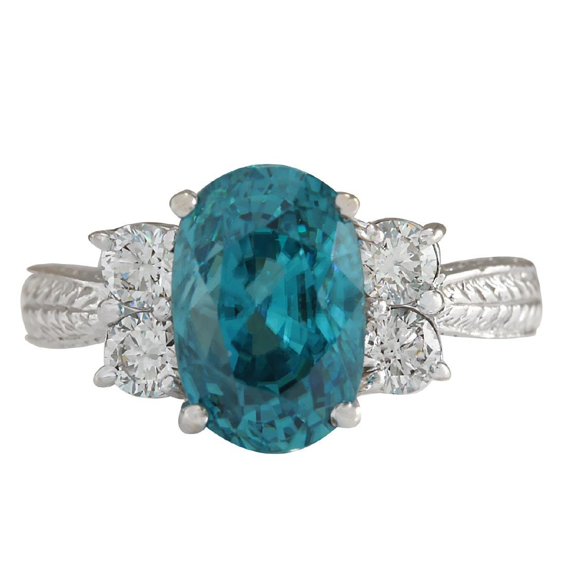 7.07CTW Natural Blue Zircon And Diamond Ring 18K Solid