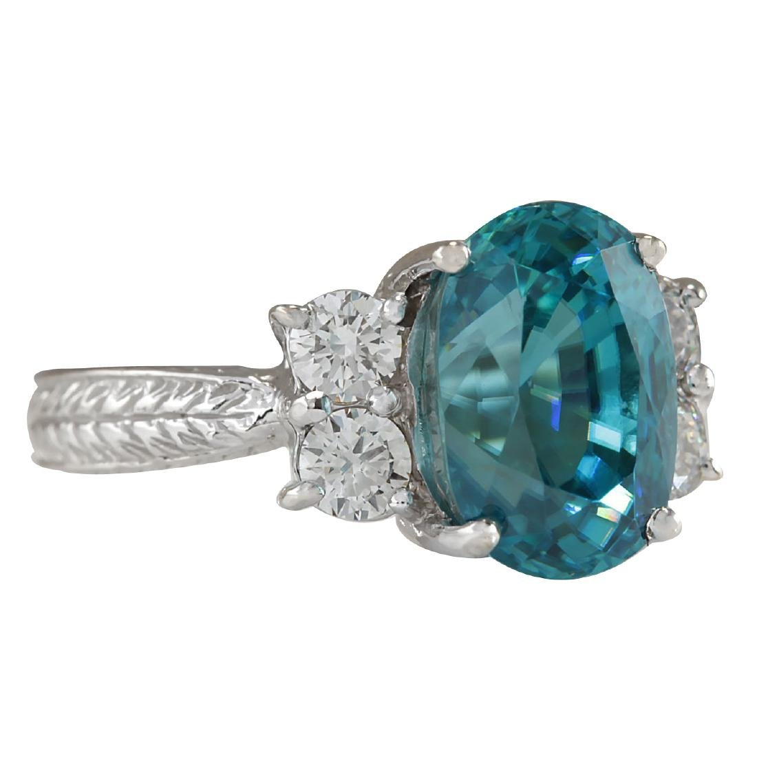 7.07CTW Natural Blue Zircon And Diamond Ring 18K Solid - 2