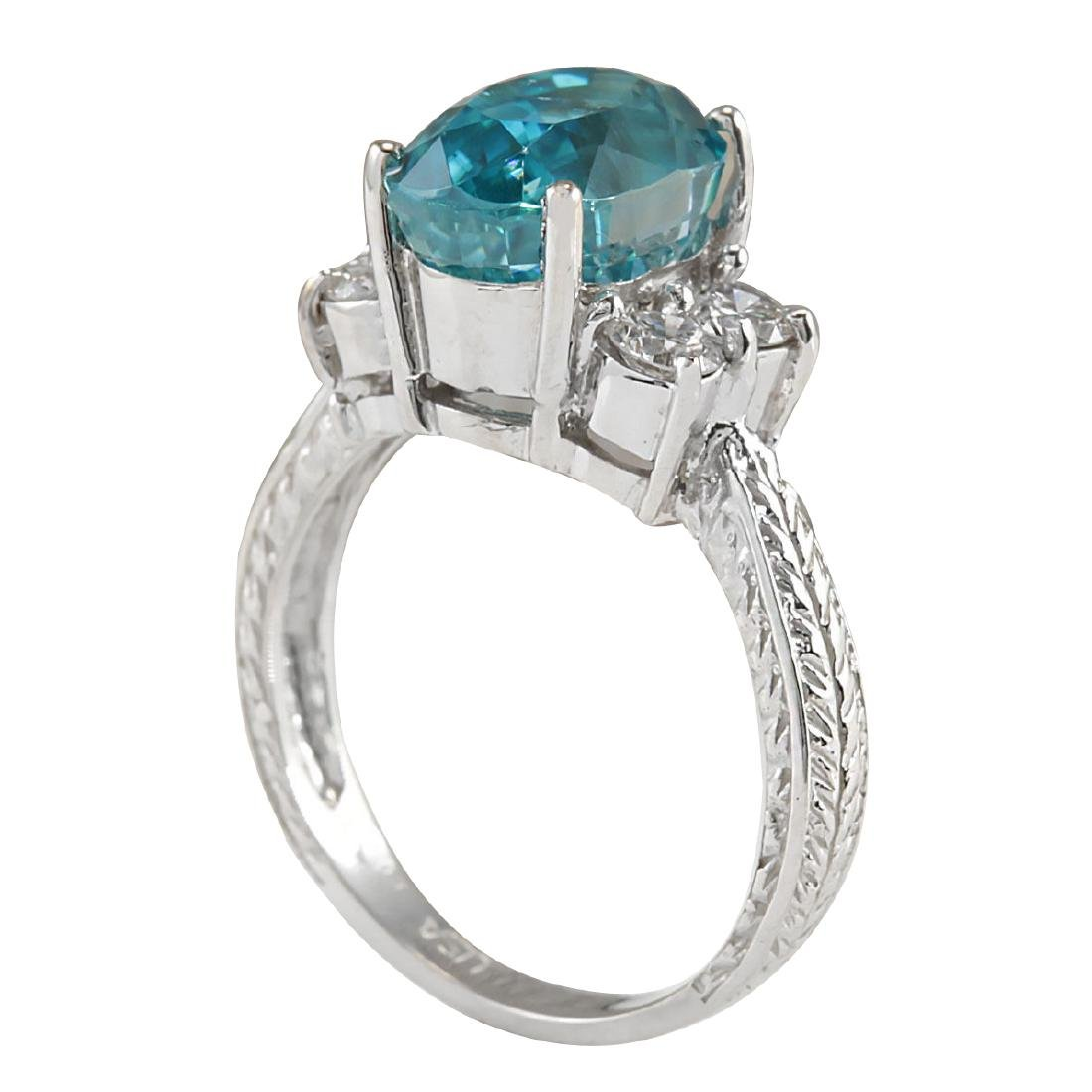 7.07CTW Natural Blue Zircon And Diamond Ring 18K Solid - 3
