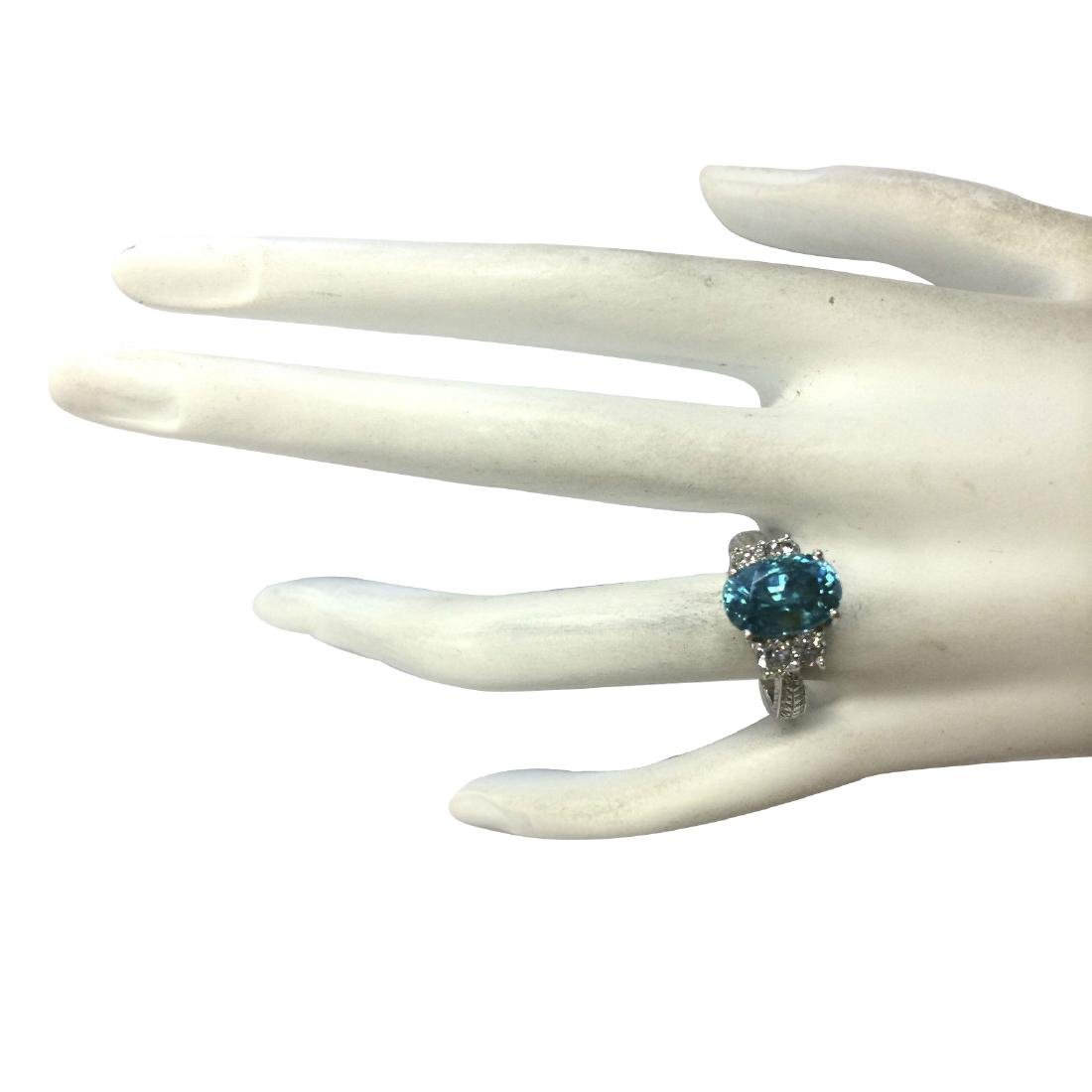 7.07CTW Natural Blue Zircon And Diamond Ring 18K Solid - 4