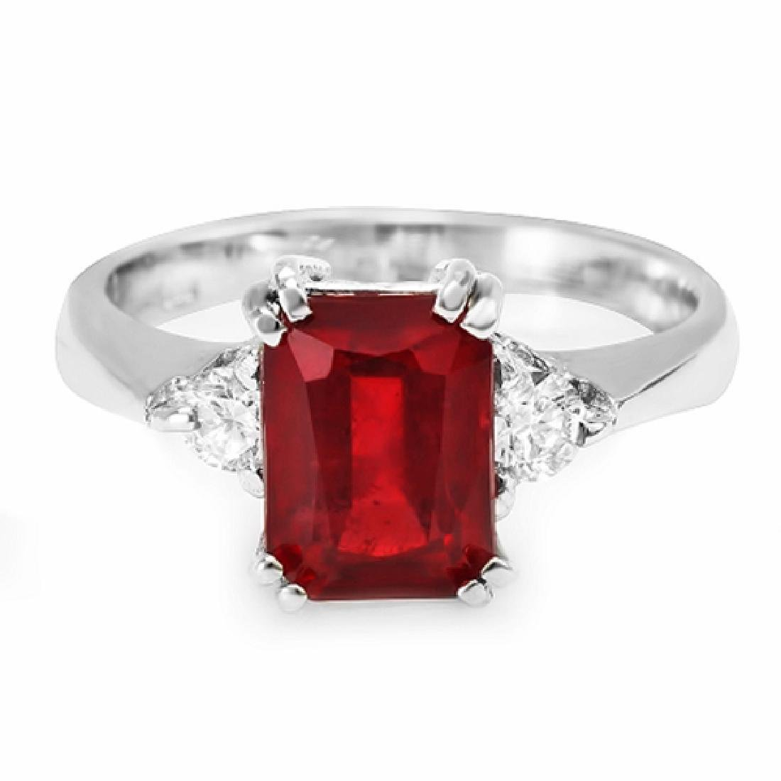 3.16 Carat Natural Ruby 18K Solid White Gold Diamond