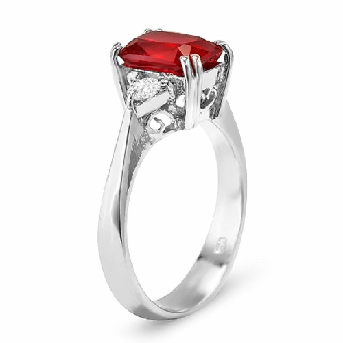 3.16 Carat Natural Ruby 18K Solid White Gold Diamond - 2
