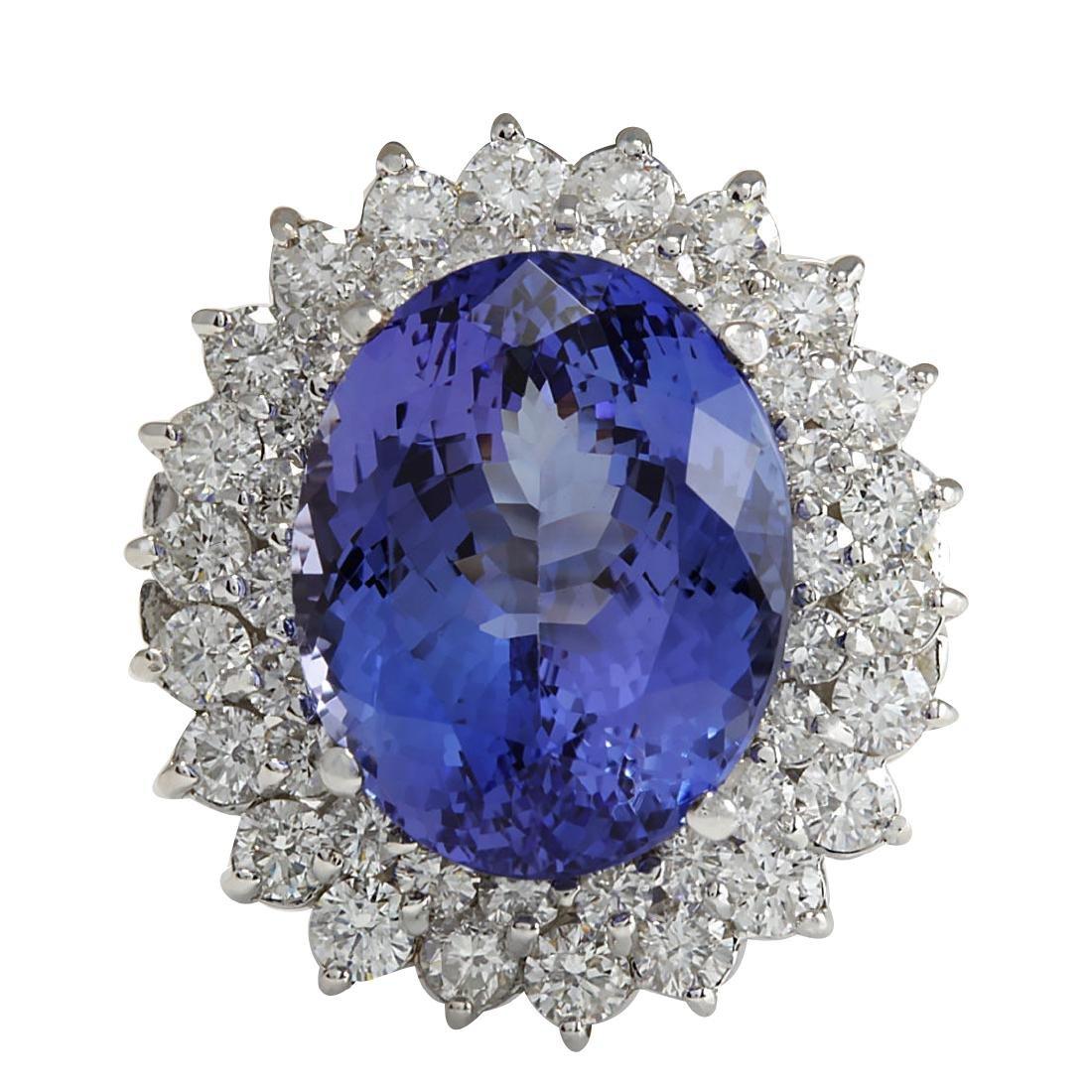 11.11CTW Natural Tanzanite And Diamond Ring 18K Solid