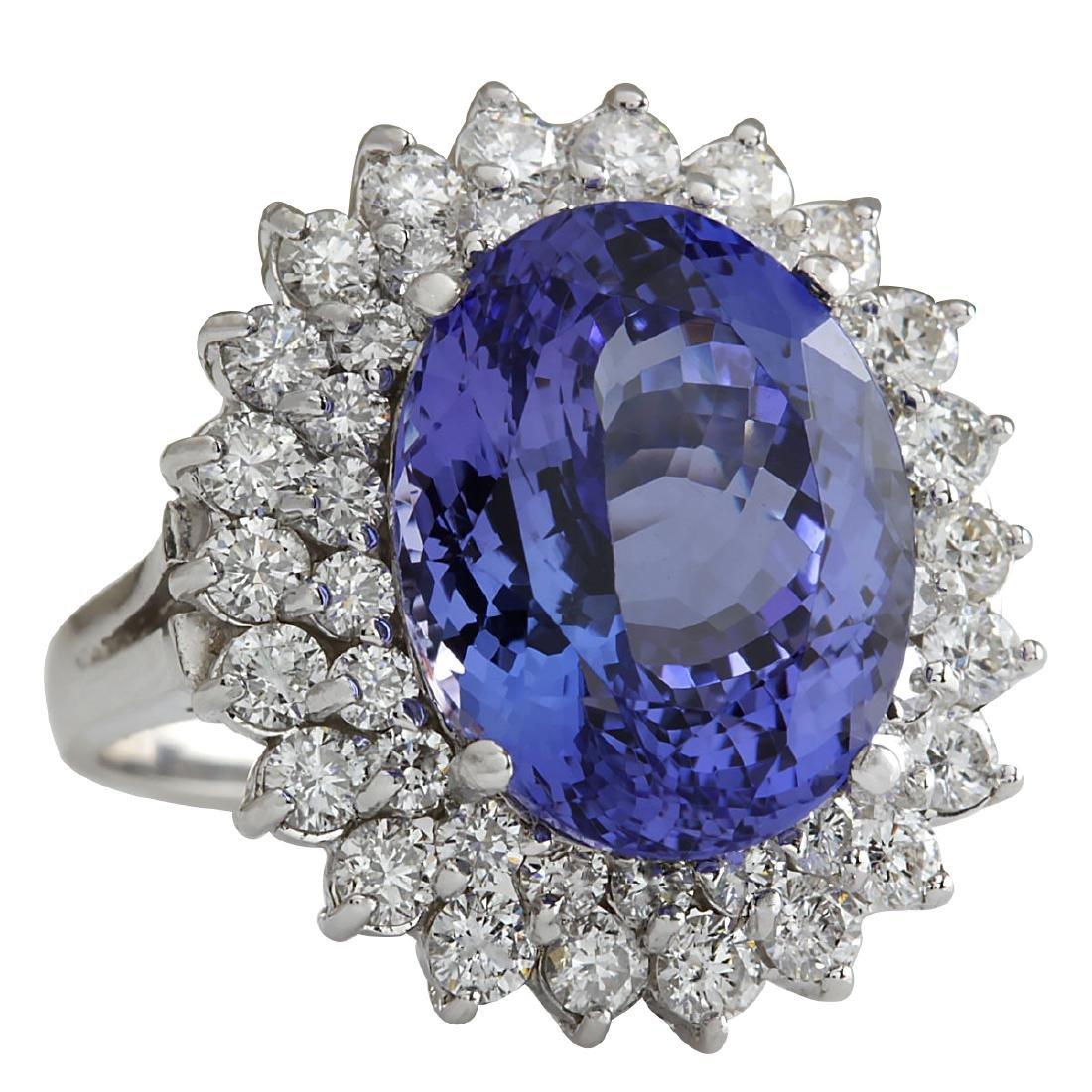 11.11CTW Natural Tanzanite And Diamond Ring 18K Solid - 2
