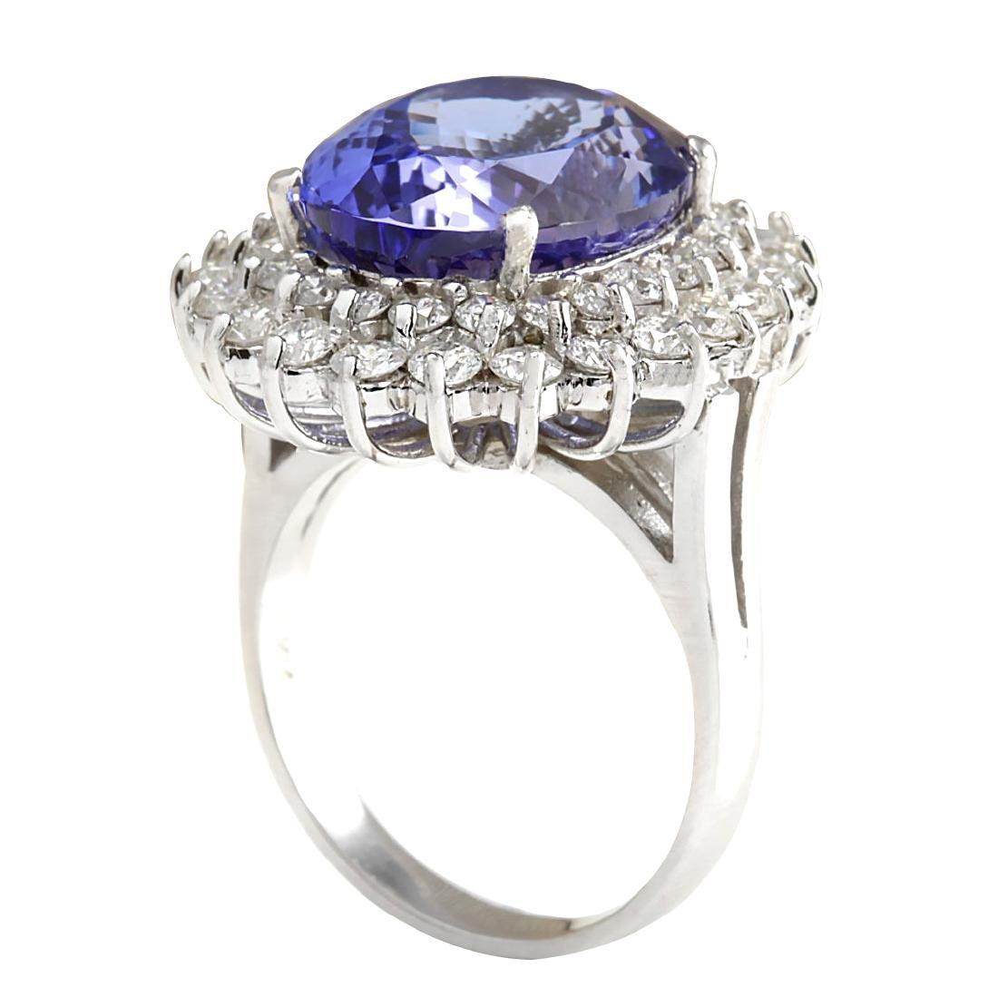 11.11CTW Natural Tanzanite And Diamond Ring 18K Solid - 3