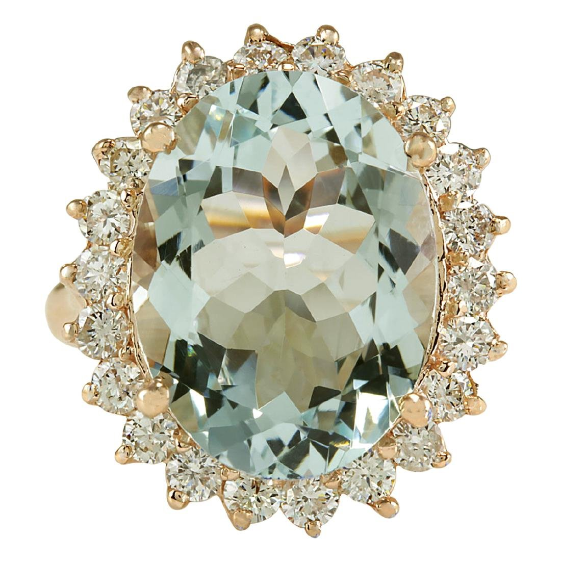 8.40CTW Natural Aquamarine And Diamond Ring In 18K