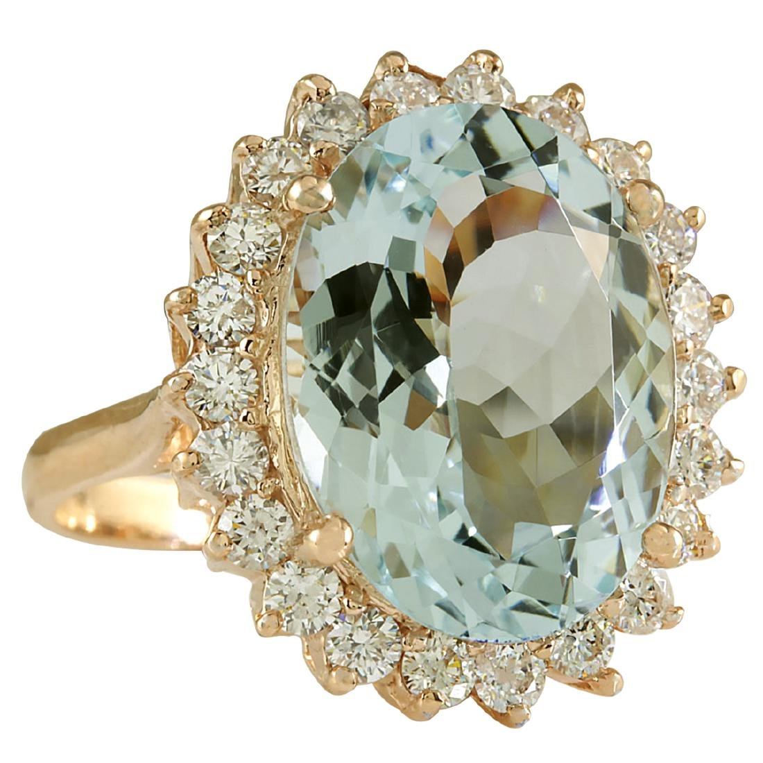 8.40CTW Natural Aquamarine And Diamond Ring In 18K - 2