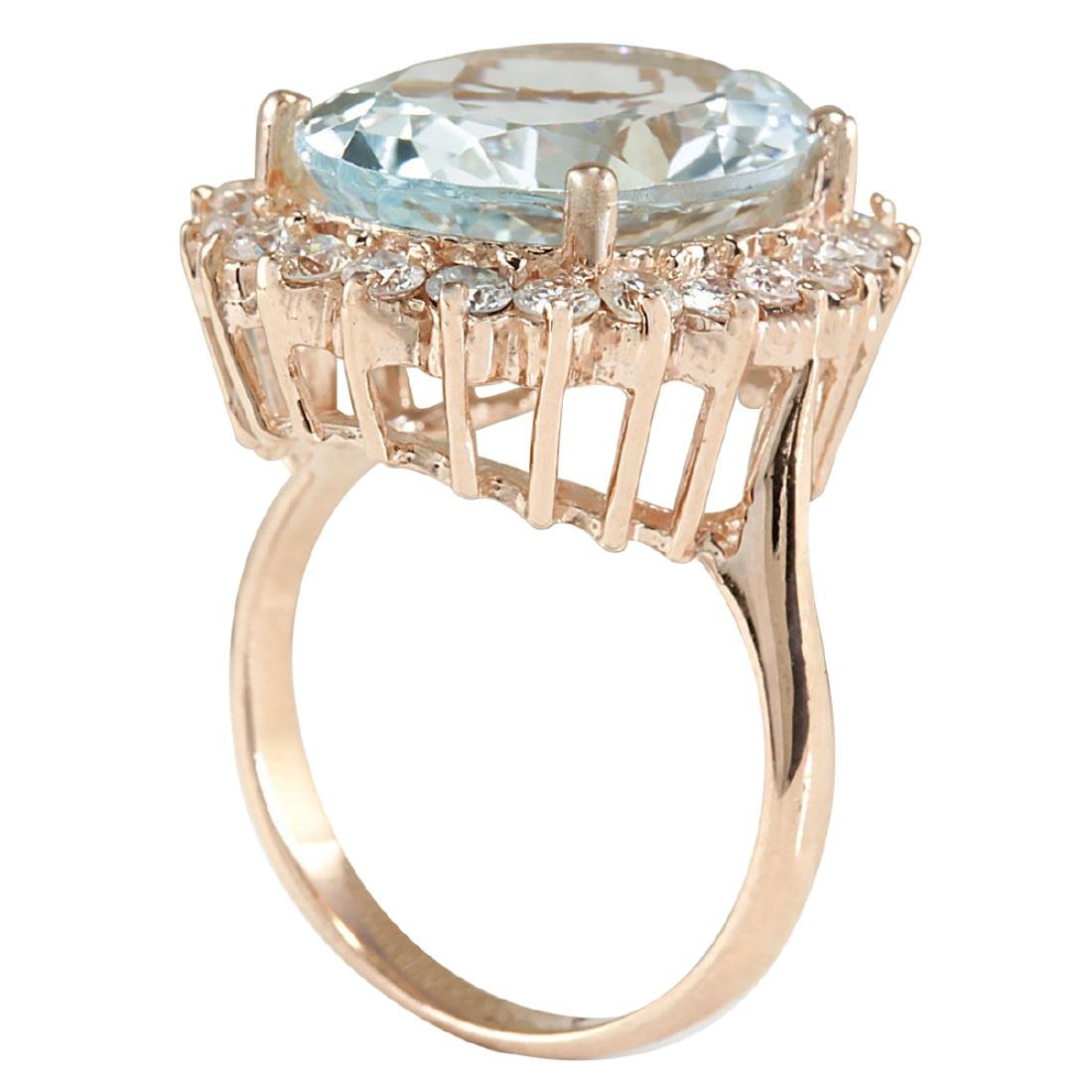 8.40CTW Natural Aquamarine And Diamond Ring In 18K - 3