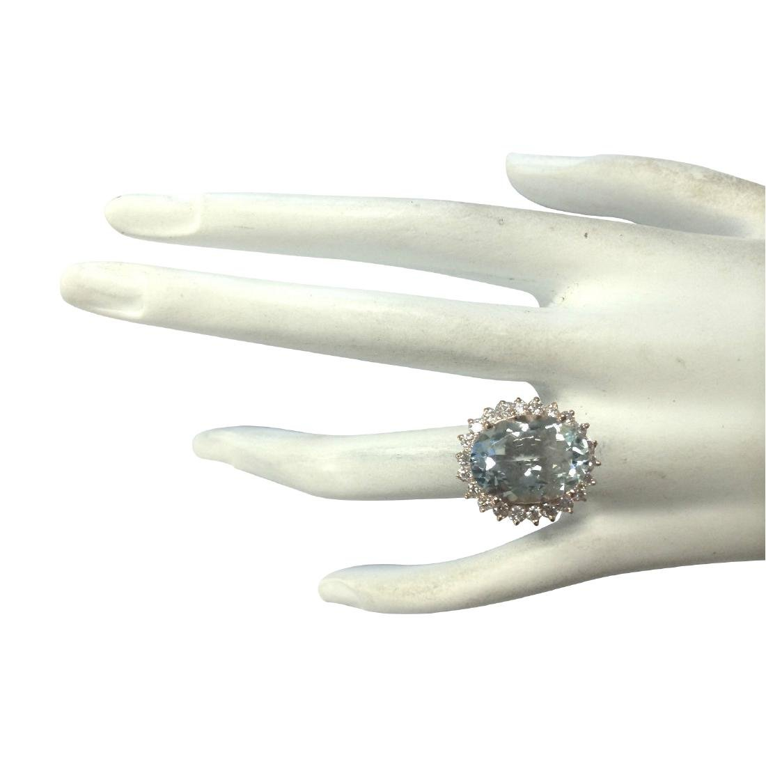 8.40CTW Natural Aquamarine And Diamond Ring In 18K - 4