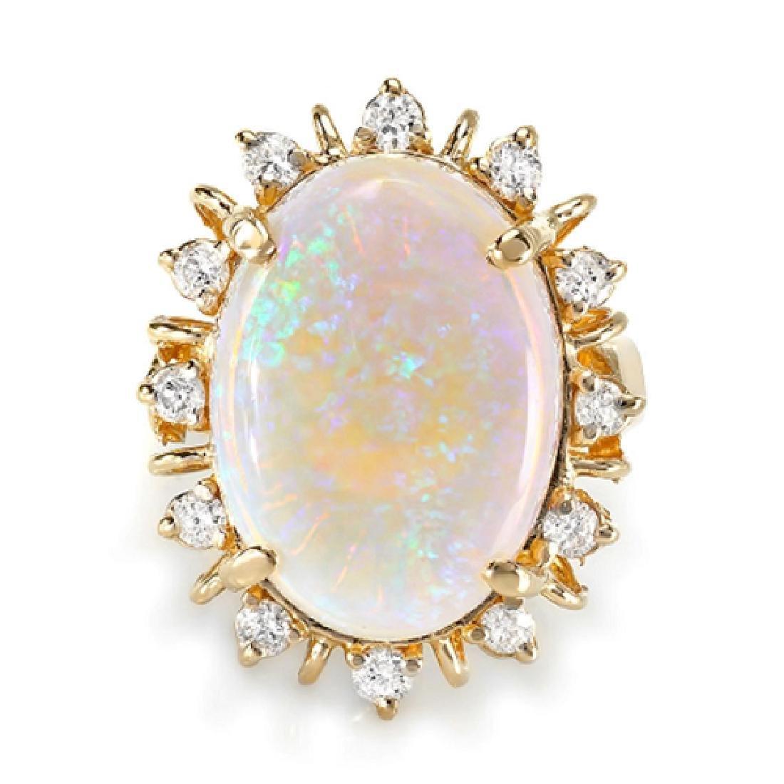 9.88 Carat Natural Opal 18K Solid Yellow Gold Diamond