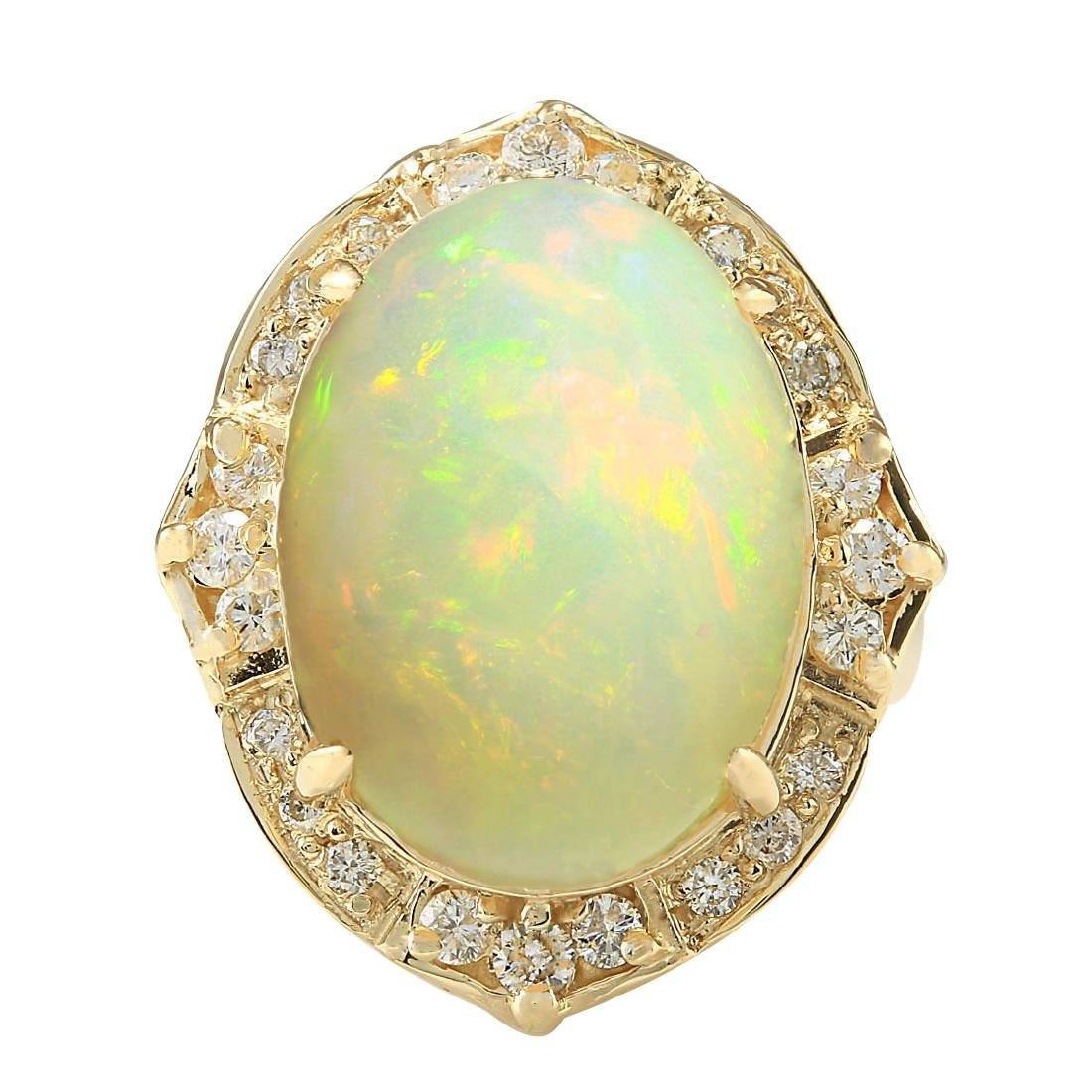 10.50CTW Natural Opal And Diamond Ring In 18K Yellow