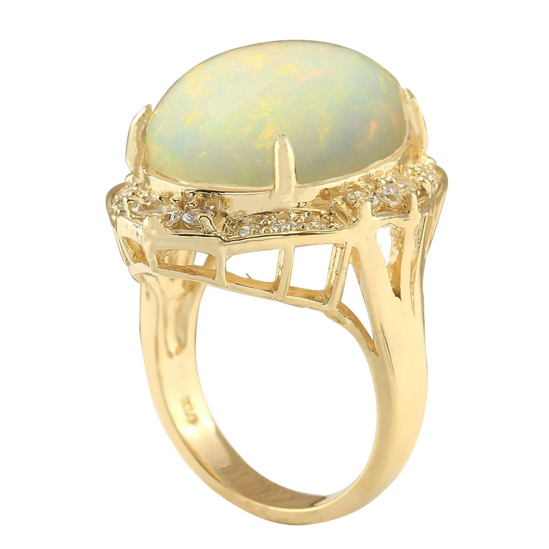 10.50CTW Natural Opal And Diamond Ring In 18K Yellow - 3